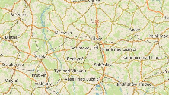 Dálnice D3 mezi středočeskými Lažany (modrá značka) a jihočeským Veselím nad Lužnicí (červená značka)