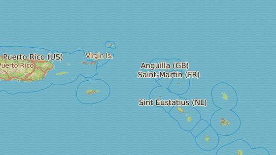 Ostrov Barbuda (červená) a Svatý Martin (černá)