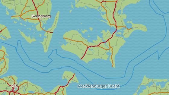 Ostrovy Fehmarn a Lolland dělí  Fehmarnská úžina.