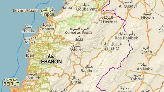 Oblast předchozích bojů s IS kolem měst Arsal a Ras Baalbik