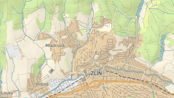 V úterý začala oprava cesty z části Vršava na největší zlínské sídliště Jižní Svahy (červená značka), o prázdninách se chtějí silničáři pustit také do části hlavního příjezdu na sídliště z centra (modrá).