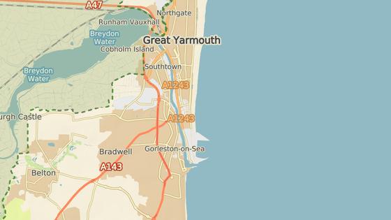 Pláž Gorleston se nachází v hrabství Norfolk.