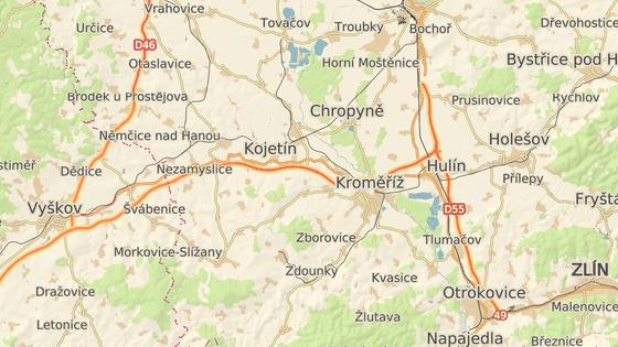 Na odpočívkách D1 Křenovice (červená značka) vzniknou čerpací stanice, na D55 u Křenovic (zelená) zase automatické toalety bez obsluhy.