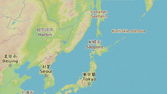 Pchjongjang (modrá značka), Hokkaidó (červená)
