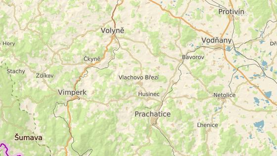 Červeně je vyznačená čtvrteční nehoda u Budilova a modře středeční u Ostrova.