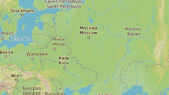 Stovky Romů musely opustit vesnici Čemodanovka (červená značka) a přestěhovat se do Volgogradu (modrá značka).