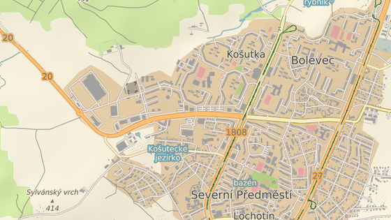 Kvůli opravě je uzavřená Studentská třída od křižovatky s Gerskou ulicí (červený bod) až k zimním stadionům (modrý bod) na okraji Plzně.