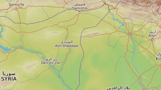 Dajr az-Zaur (modrá značka) a Tall Afar (červená značka)