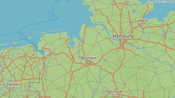 Vraždy ošetřovatel spáchal v Delmenhorstu (červeně) a Oldenburgu (modře)