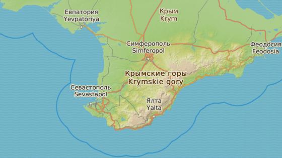 Loď podle úřadů ztroskotala asi 40 kilometrů jižně od města Alupka (červená značka).