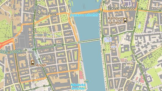 Nový přívoz Vyšehrad bude jezdit mezi Smíchovem (červená) a Podskalím (modrá).