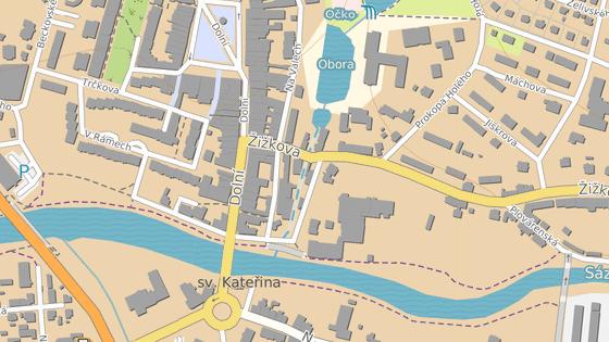 Ulicemi Dolní (červená), Žižkova (modrá) a Na Ostrově (zelená) v centru Havlíčkova Brodu se jezdí jednosměrně proti směru hodinových ručiček.