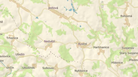 Místo nehody nedaleko Bystrého u Poličky.