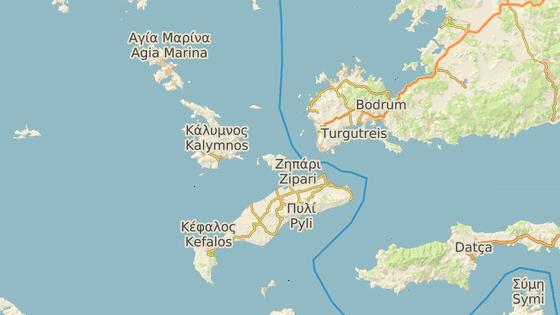 Řecký ostrov Kos (červená značka) a turecké letovisko Bodrum (modrá značka).