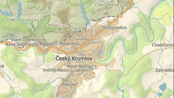 Červeně je označený areál Jitony, modře kasárna ve Vyšném.