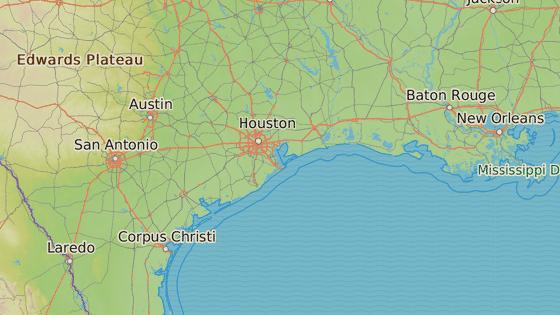 Rockport (červeně), místo, kde hurikán udeřil největší silou. Houston zasáhly povodně.