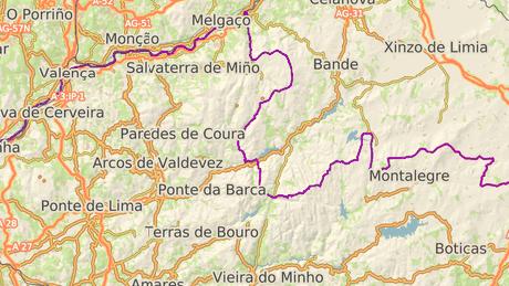 Hranice Španělska s Portugalskem, kde se nachází národní park Peneda-Geres.