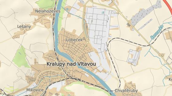 Modrá značka označuje areál, kde nastal výbuch. Červená střed města