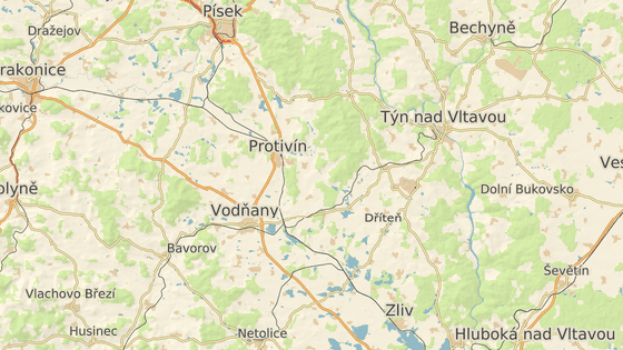 Červený bod označuje nehodu u Tálína, modrý u Vodňan.