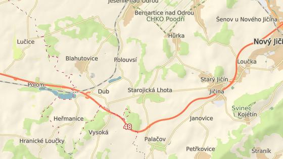 Vůz v protisměru nahlásili lidé mezi Novým a Starým Jičínem (modrá značka), vůz se podařilo zastavit u Polomi, obci na Přerovsku (oranžová značka).
