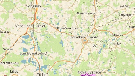 Kardašova Řečice leží na jednom z tahů na Jindřichův Hradec.