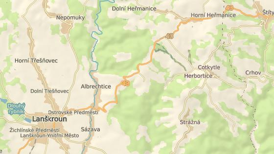 Nebezpečný úsek mezi Lanškrounem a Horními Heřmanicemi.