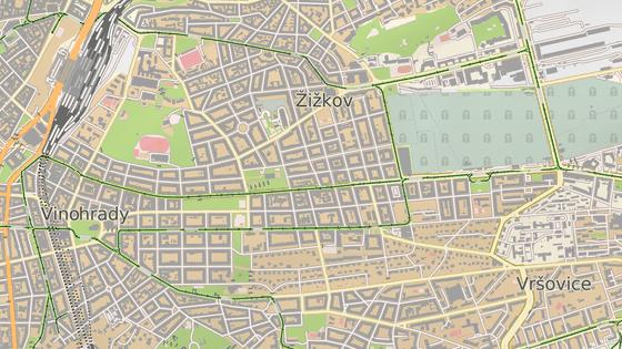 Průvod půjde od kostela na náměstí Jiřího z Poděbrad (zelená) k Olšanským hřbitovům (červená)