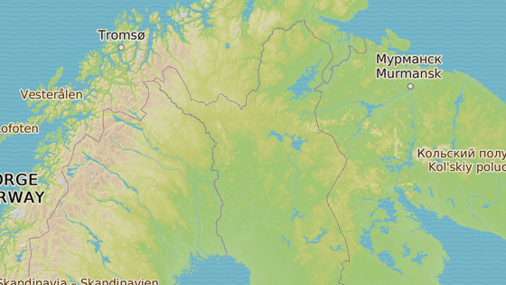 Černá značka ukazuje místo Kuttanen,kde byla nalezena Čechova přítelkyně mrtvá, červená pak město Rovaniemi, kde se koná soud