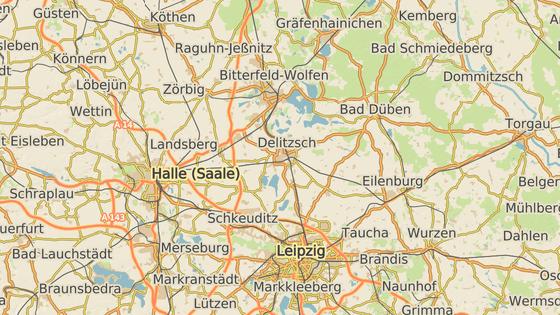 Německá města Bitterfeld (červená) a Halle (modrá).