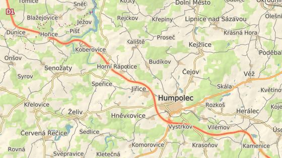 Dodávka hořela na 80. kilometru D1 (červená), odpoledne došlo k nehodě na 91. kilometru.