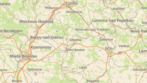 Červená značka ukazuje na město Sobotka