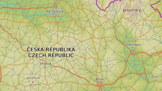 Ilustrace klokanova putování - od Mohelnice (zeleně) k Jihlavě