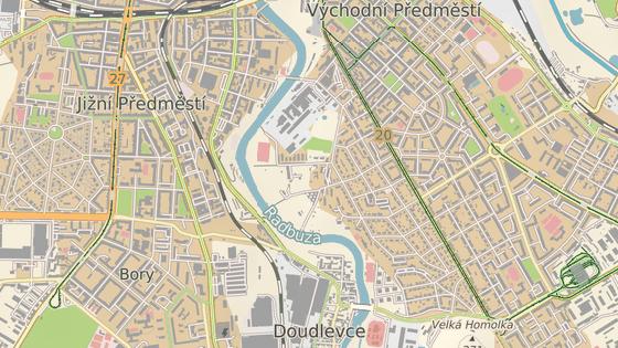 Červeně je vyznačený úsek řeky, ve kterém se kačer pohyboval. Modrý bod značí místo, kde byl pták odchycen.