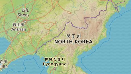 Wonsan - modrá     Vojenský komplex - červená     Kangdong - zelená