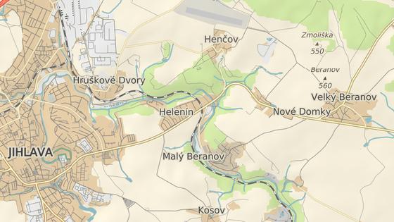 Místo úplné uzavírky silnice II/602 mezi Velkým Beranovem a Jihlavou.