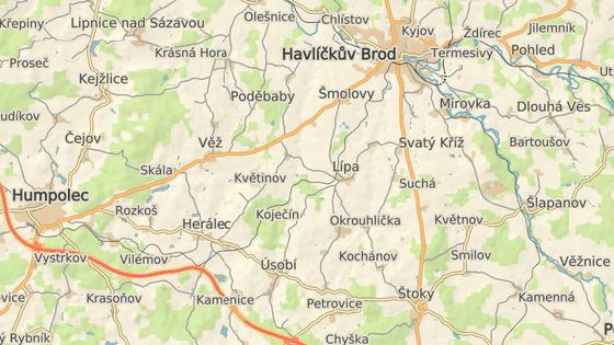 Rizikový úsek silnice I/38 u Svatého Kříže nedaleko Havlíčkova Brodu.