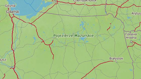 Mazurská jezera leží na severozápadě země.