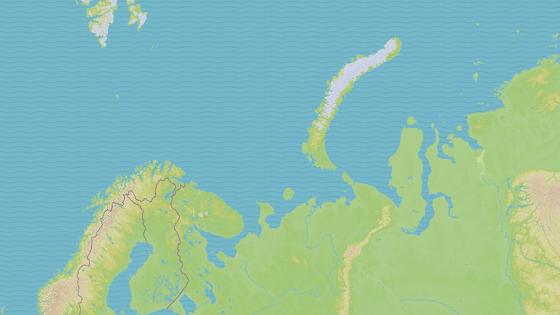 Ruské souostroví Nová země v Severním ledovém oceánu