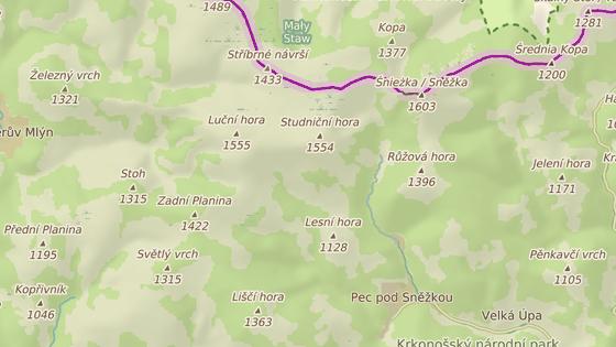 Cesta z Obřího dolu (červená značka) do Modrého dolu (modrá značka) je uzavřena až do opravy lávky přes Úpu.