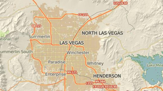 Las Vegas - oblast, kde leží kasino Mandalay Bay.