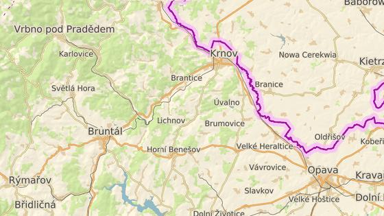 Zelená značka ukazuje místo, kde by se měla rozprostírat přehrada Nové Heřminovy.