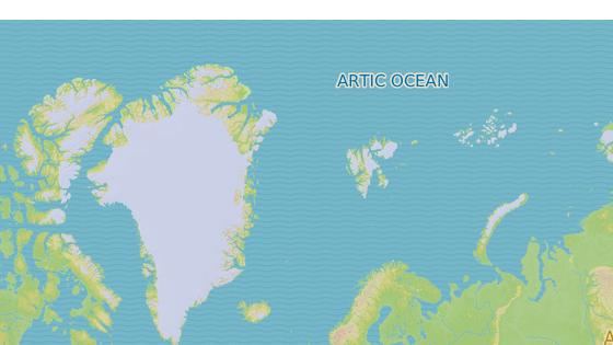 Špicberky (červeně)  a Jan Mayen (modře) se nacházejí hluboko za polárním kruhem