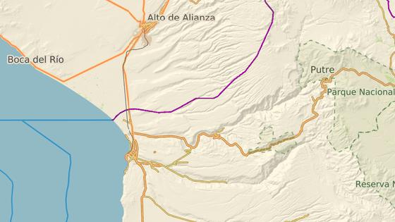 Minová pole jsou v písku v oblasti mezi peruánskou Tacnou a chilskou Aricou