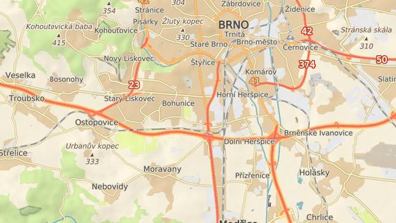 Přibližné místo nehody v Brně