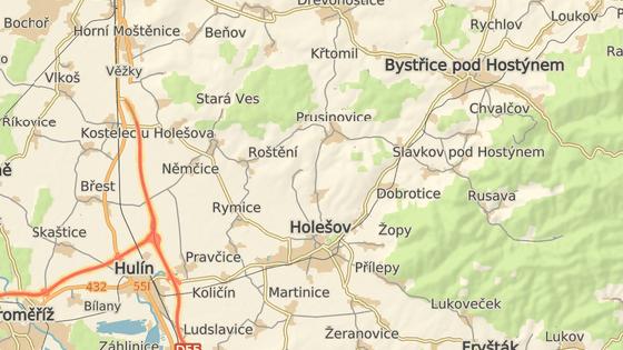 nehoda se stala na silnici mezi obcemi Prusinovice a Holešov