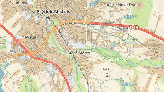 Červená značka ukazuje soutok řek Morávky a Ostravice