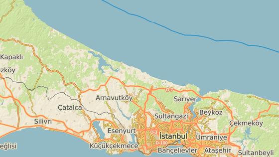 Červeným bodem je označen Bospor, modré body naznačují přibližnou předpokládanou trasu Erdoganova istanbulského kanálu.