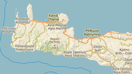 Místo nálezu v lokalitě Trachilos na západě Kréty