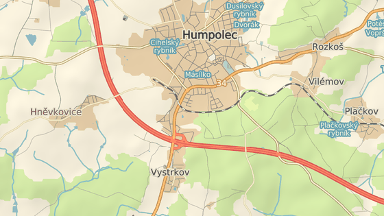 Nehoda se stala přímo na exitu Humpolec.