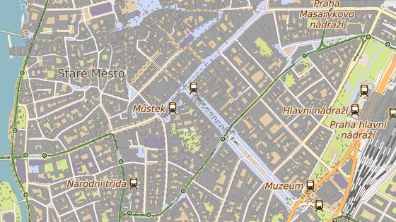 Vyloučený úsek tramvajové trati mezi Jindřišskou (zeleně) a Lazarskou (červeně)